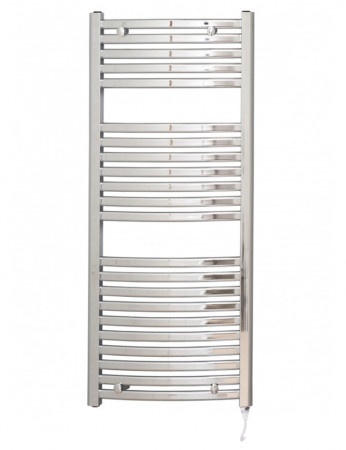 Columbus 1200 x 500 Curved Chrome Electric Towel Rail