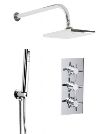 Cross Triple Thermostatic Valve With Square Shower Head & Round Shower Outlet
