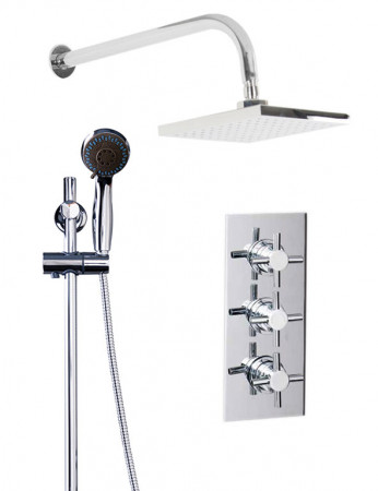 Cross Triple Thermostatic Valve With Square Shower Head & Clyde Slide Rail Kit
