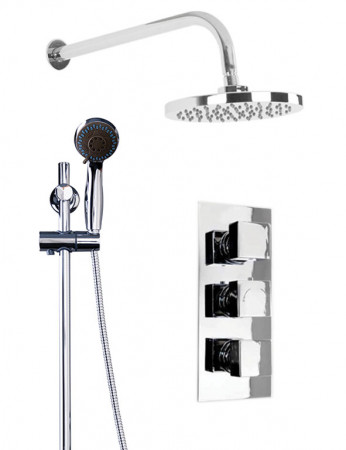Cubix Triple Thermostatic Valve With Round Shower Head & Clyde Slide Rail Kit