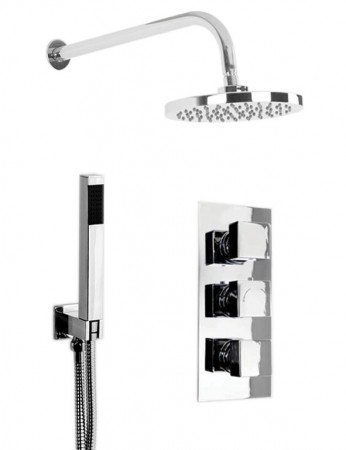 Cubix Triple Thermostatic Valve With Round Shower Head & Square Shower Outlet
