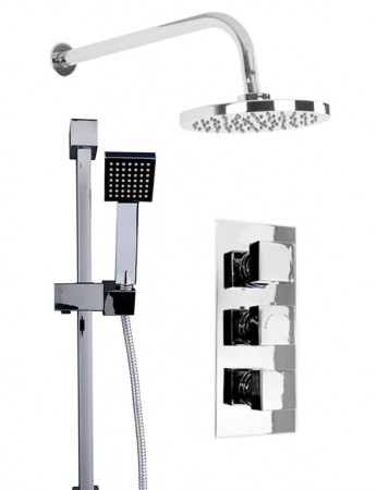 Cubix Triple Thermostatic Valve With Round Shower Head & Thames Slide Rail Kit