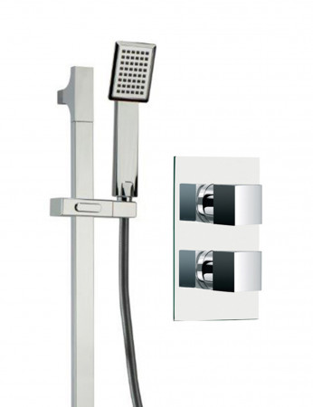 Cubix Twin Thermostatic Valve With Severn Slide Rail Kit & Square Shower Elbow