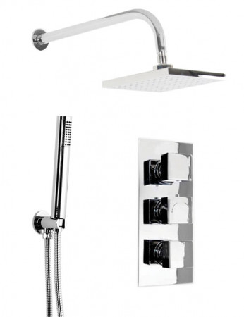 Cubix Triple Thermostatic Valve With Square Shower Head & Round Shower Outlet