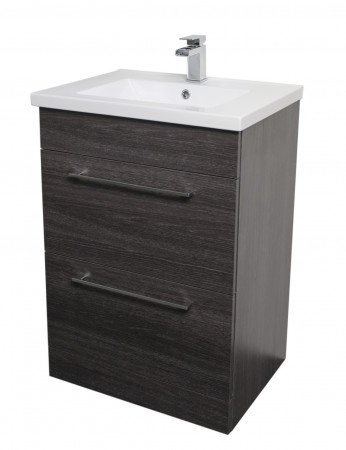 Napoli Black Oak 2 Drawer 600 Unit & Basin