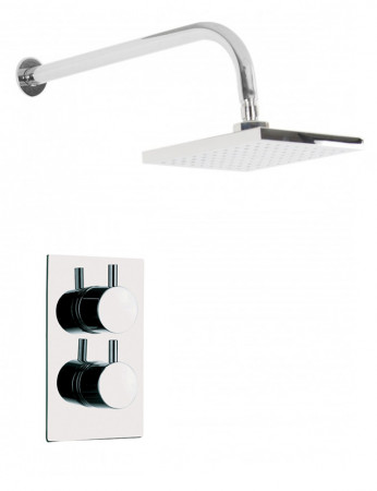 Circo Twin Thermostatic Valve With Square Shower Head & Wall Arm