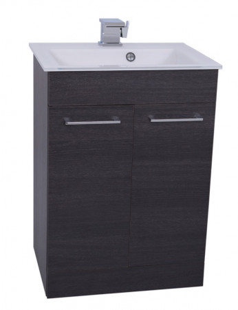 Venice White 600 Napoli Black Oak 2 Door Unit & Basin