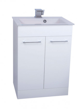 Venice White 600 Napoli Gloss White 2 Door Unit & Basin