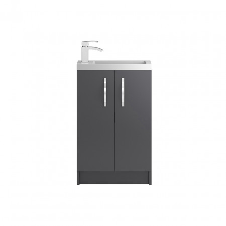 Hudson Reed Apollo Compact Grey Gloss Floor Standing 500mm Cabinet & Basin - FMA424C & PMB302