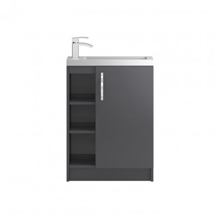 Hudson Reed Apollo Compact Grey Gloss Floor Standing 600mm Cabinet & Basin - FMA476C & PMB303