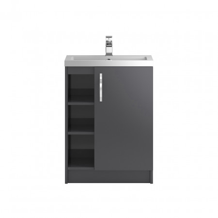 Hudson Reed Apollo Grey Gloss Floor Standing 600mm Cabinet & Basin - FMA476 & PMB313