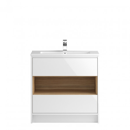 Hudson Reed Coast White Gloss Floor Standing 800mm Cabinet & 18mm profile Basin - FMC978 & NVM005