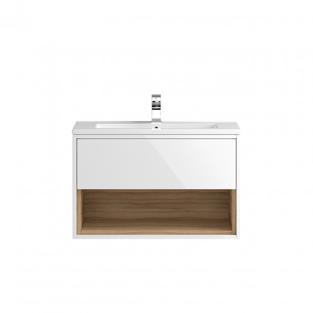 Hudson Reed Coast White Gloss Wall Hung 800mm Cabinet & 18mm profile Basin - FMC988 & NVM005