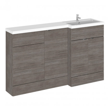 Hudson Reed Grey Avola 1500mm Full Depth Combination Vanity, WC and Storage Unit with Right Hand Basin - CBI516