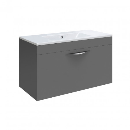 Hudson Reed Memoir Gloss Grey Wall Hung 600mm Cabinet & 18mm profile Basin - FME416 & NVM003