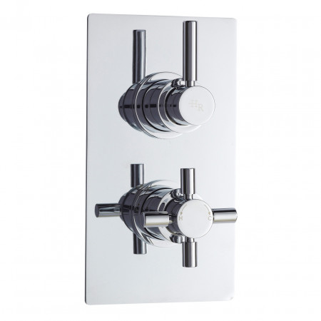 Hudson Reed Tec Pura Twin Concealed Thermostatic Valve Rectangular Plate - A3003V