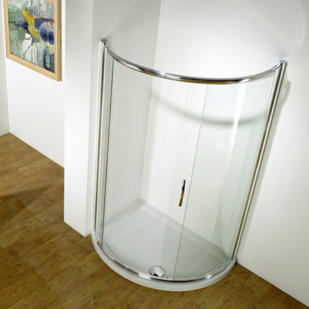Kudos Infinite Semi-Frameless Offset Curved Slider Side Access 1200 x 910mm Silver