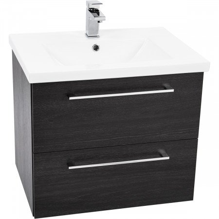Napoli Black Oak 2 Drawer 600 Wall Mounted Unit & Basin
