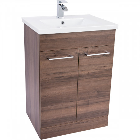 Napoli Walnut 2 Door 600 Unit & Basin