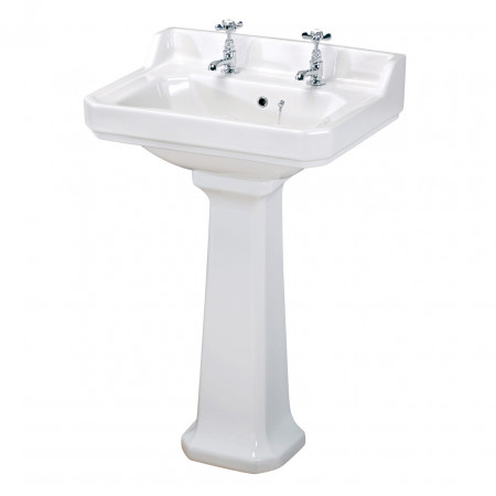 Old London Richmond 560mm Basin with 2 Tap Holes and Pedestal - LDC884