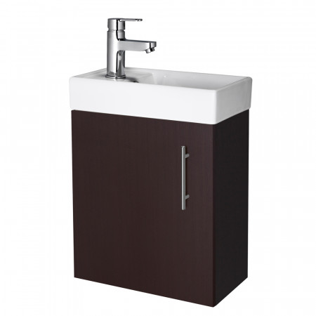 Compact Wall Hung Ebony 400mm Basin & Cabinet