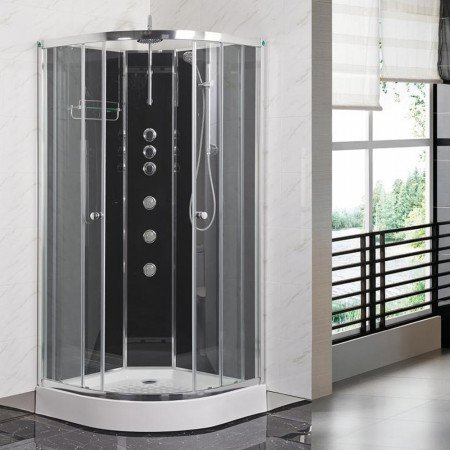 Opus 04 1200x800mm R/H iLock Offset Quadrant Shower Cabin Carbon Black