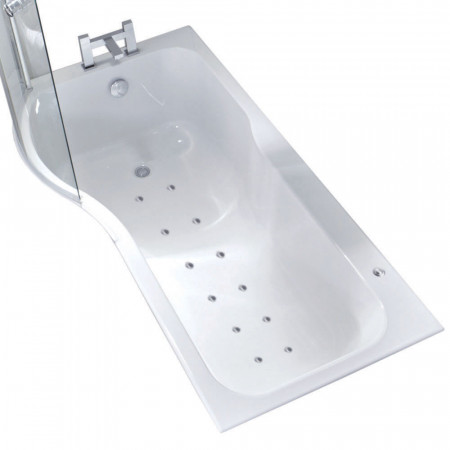 P Shape 12 Jet Easifit Spa Whirlpool Shower Bath 1700 mm with Screen and Panel Left Hand