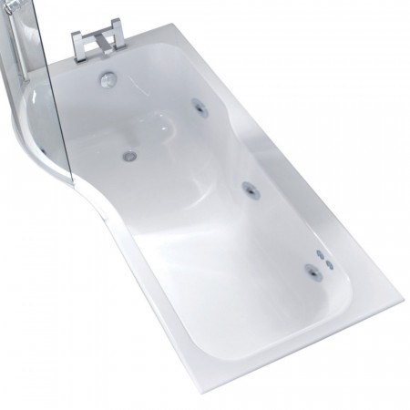 P Shape 6 Jet Chrome Flat Jet Whirlpool Shower Bath 1700 mm with Screen and Panel Left Hand