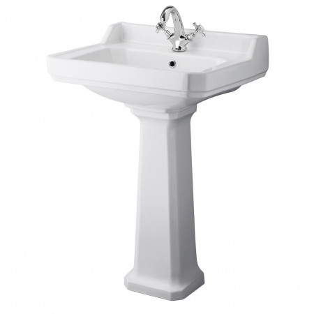 Premier Carlton White 600mm Basin with 1 Tap Hole & Pedestal - NCS882A & NCS883