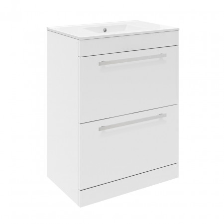 Premier Design Gloss White High Gloss White Floor Standing 600mm Cabinet & 18mm profile Basin - CAB146 & NVM003