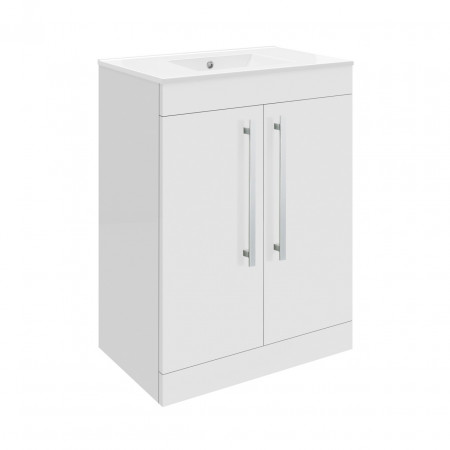 Premier Design Gloss White High Gloss White Floor Standing 600mm Cabinet & 18mm profile Basin - CAB330 & NVM003