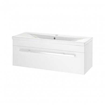 Premier Eden High Gloss White Wall Hung 1000mm Cabinet & 40mm profile Basin - NVM187 & NVM017