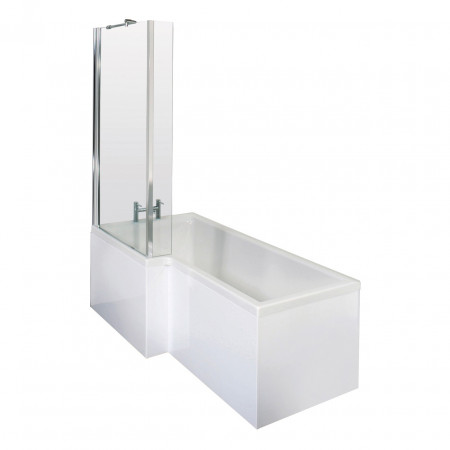 Premier White Square 1700mm Left Hand Shower Bath Package - PBS001