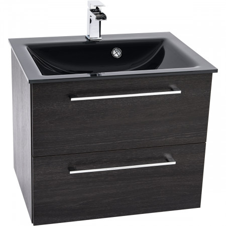 Venice Anthracite 600 Napoli Black Oak 2 Drawer Wall Mounted Unit & Basin