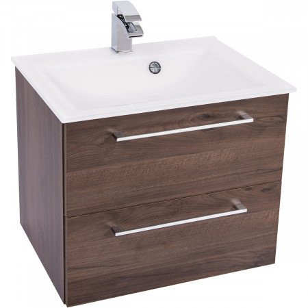 Venice White 600 Napoli Walnut 2 Drawer Wall Mounted Unit & Basin