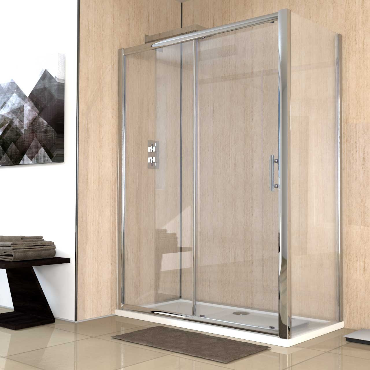 Series 6 1400mm x 700mm Sliding Door Shower Enclosure