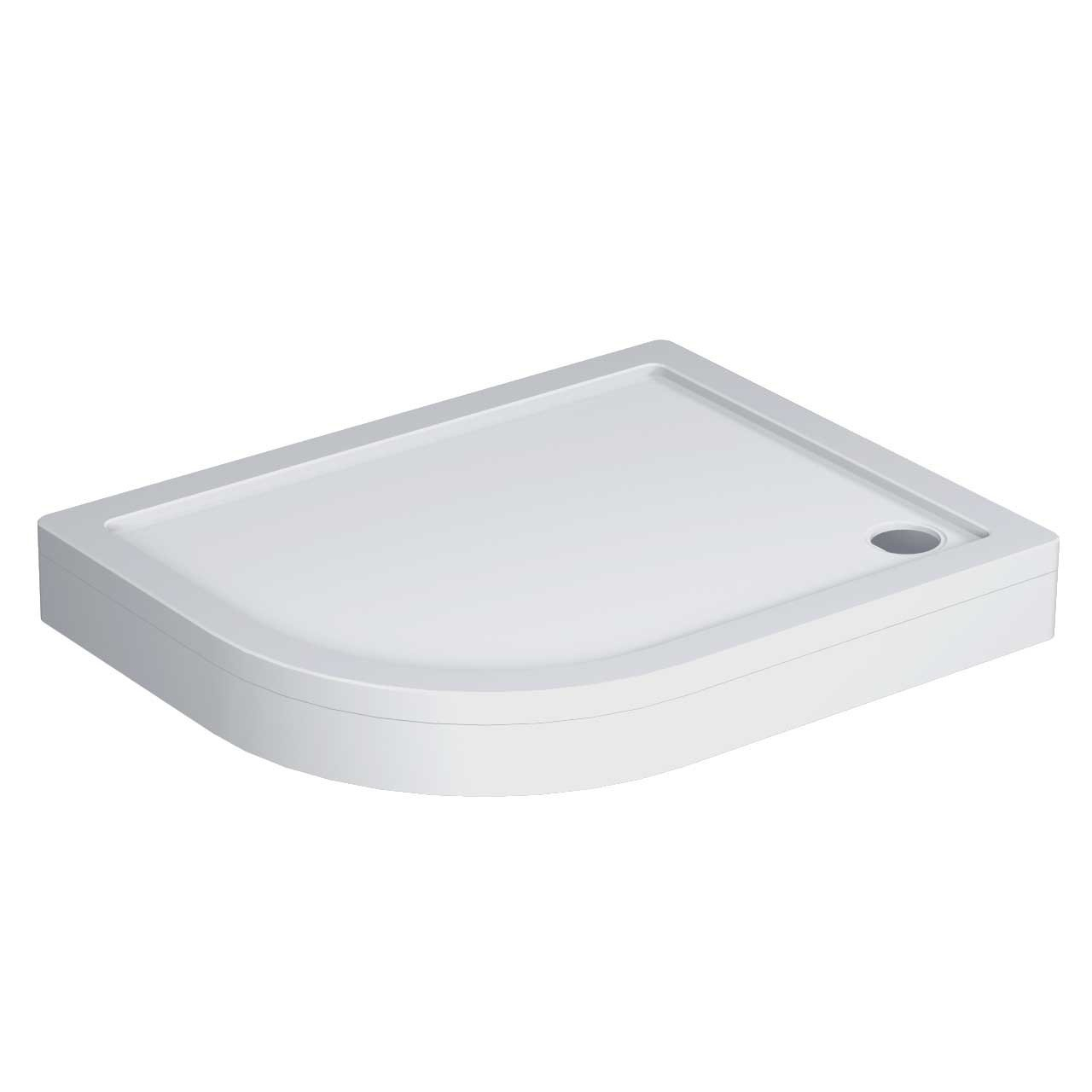 40mm Pearlstone 1000 x 800 Left Hand Offset Quadrant Shower Tray & Plinth Angled View