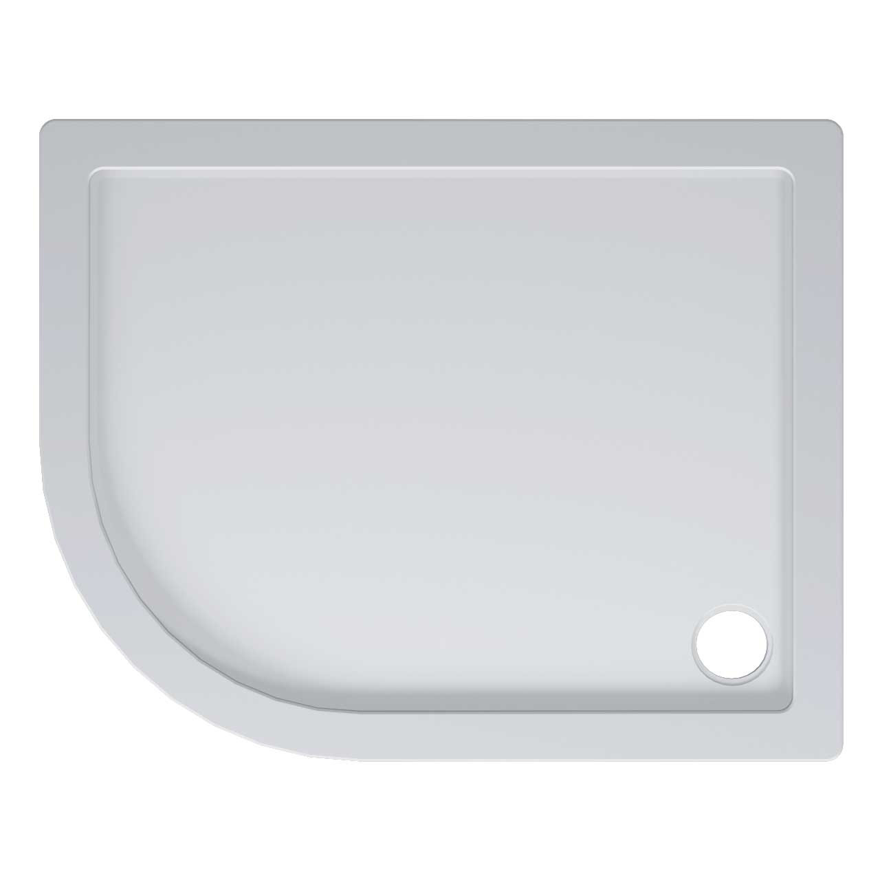 40mm Pearlstone 1000 x 800 Left Hand Offset Quadrant Shower Tray & Plinth Top View
