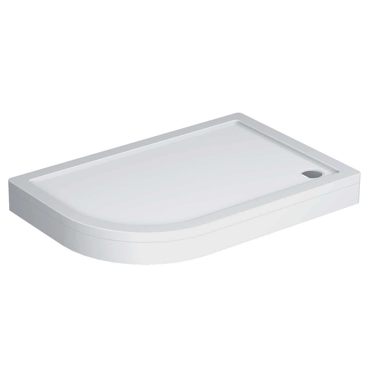 40mm Pearlstone 1200 x 800 Left Hand Offset Quadrant Shower Tray & Plinth Angled View
