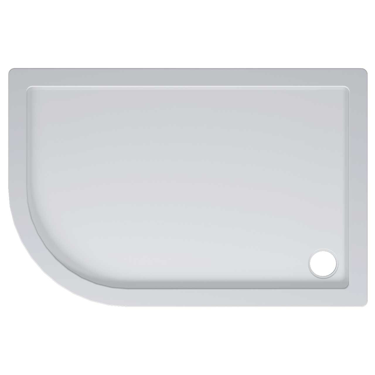 40mm Pearlstone 1200 x 800 Left Hand Offset Quadrant Shower Tray & Plinth Top View