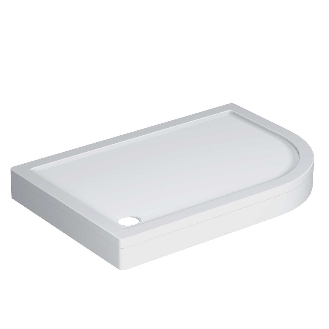 40mm Pearlstone 1200 x 800 Right Hand Offset Quadrant Shower Tray & Plinth Angled View