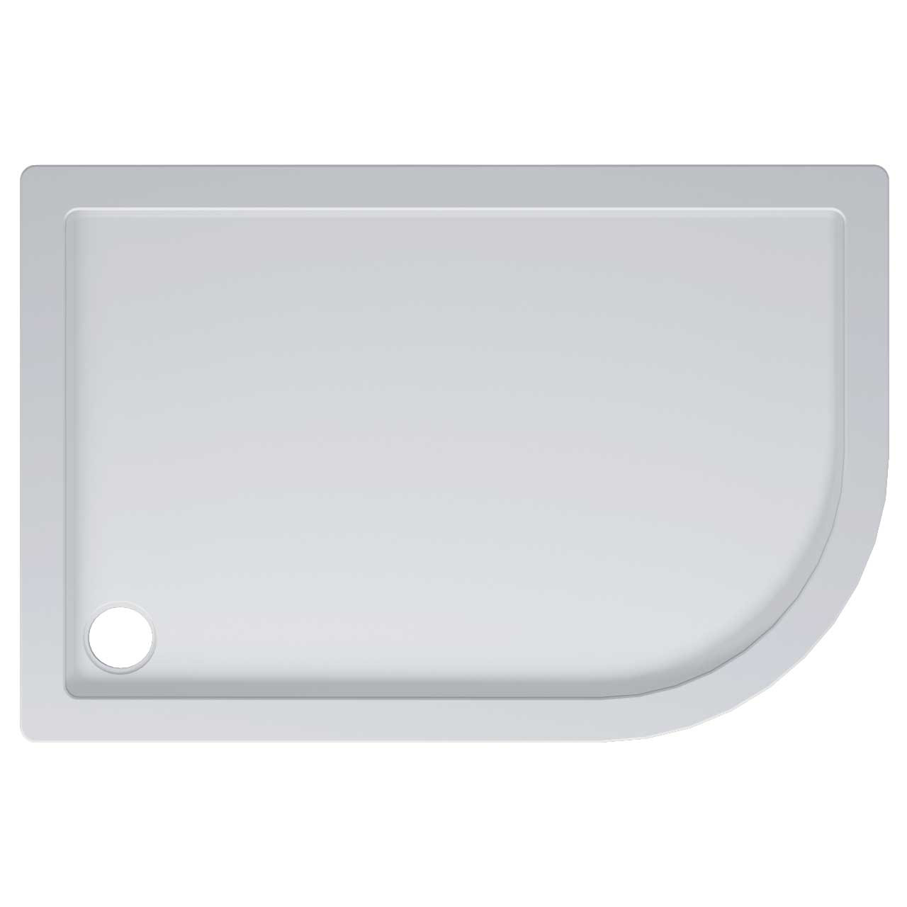 40mm Pearlstone 1200 x 800 Right Hand Offset Quadrant Shower Tray Top View