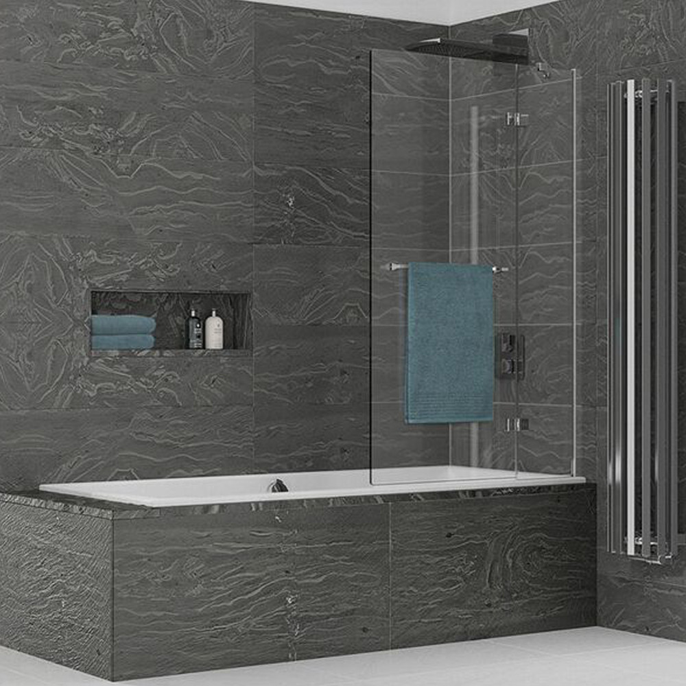 Kudos Inspire 2 Panel 950mm Out-Swing Bath Screen with Rail