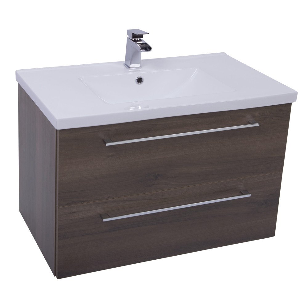 Napoli Walnut 2 Drawer 800 Wall Mounted Unit & Basin