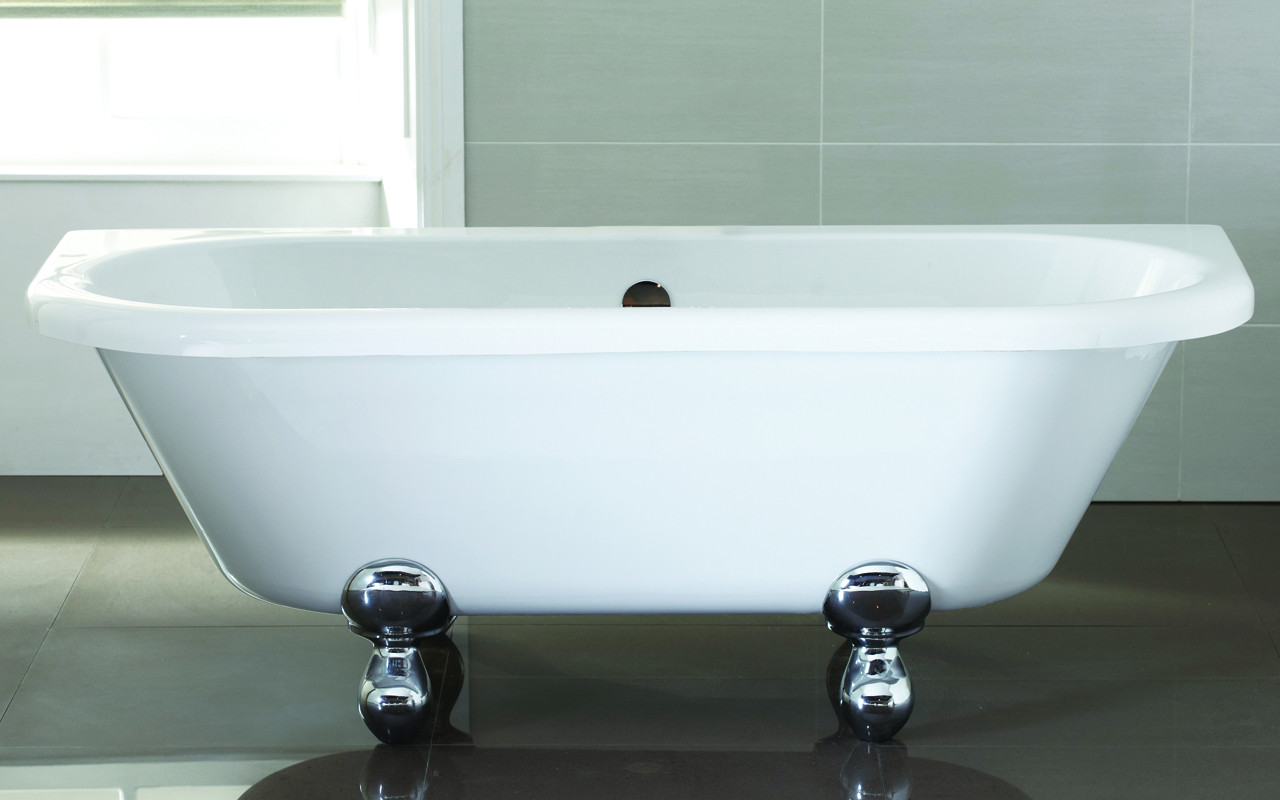 Kathryn Freestanding Bath Back To Wall with Modern Feet