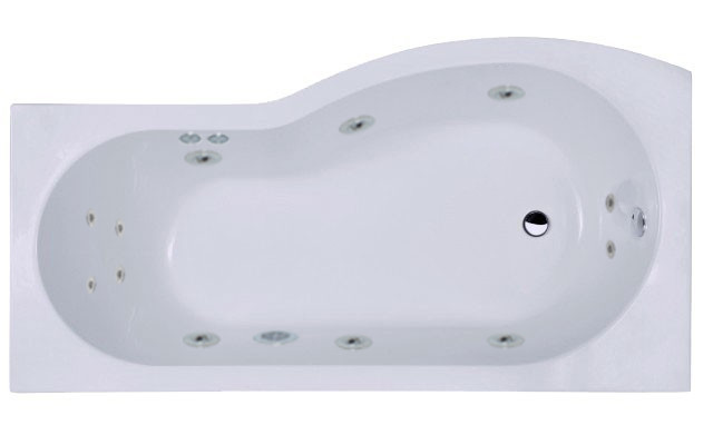 B Shape 12 Jet Chrome Flat Jet Whirlpool Shower Bath 1700 mm with Shower Screen and Panel Left Hand