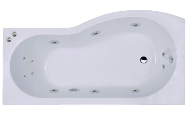 B Shape 12 Jet Chrome V-Tec Whirlpool Shower Bath 1700 mm with Shower Screen and Panel Left Hand