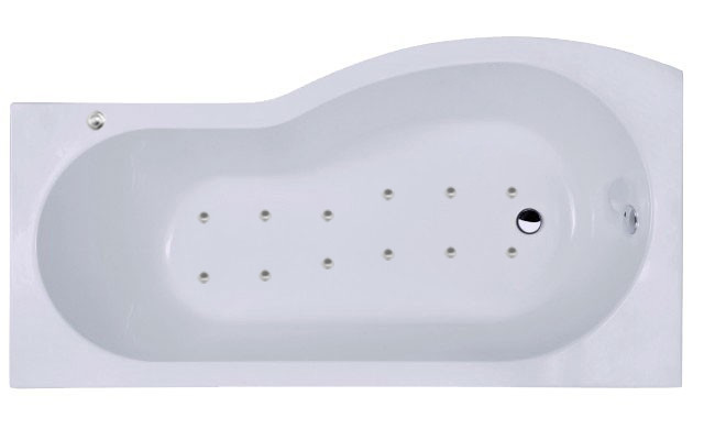 B Shape 12 Jet Easifit Whirlpool Shower Bath 1700 mm with Shower Screen and Panel Left Hand