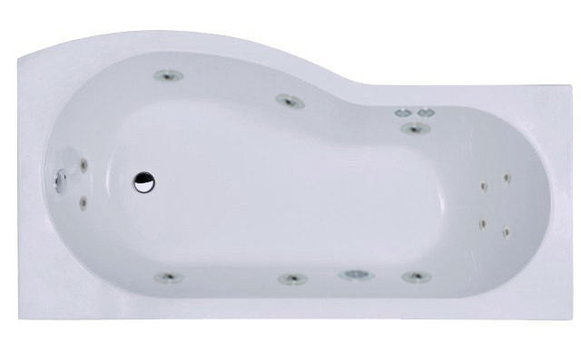 B Shape 12 Jet Chrome Flat Jet Whirlpool Shower Bath 1700 mm with Shower Screen and Panel Right Hand