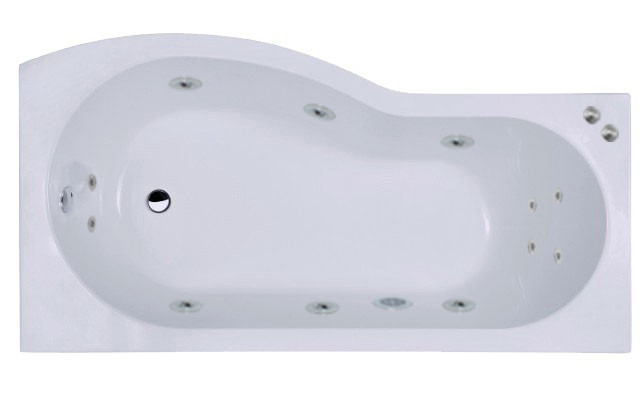 B Shape 12 Jet Chrome V-Tec Whirlpool Shower Bath 1700 mm with Shower Screen and Panel Right Hand